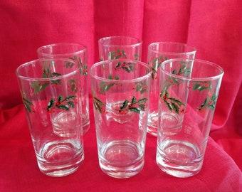 Elegant Christmas Holley Glasses, Set of 6, Holiday