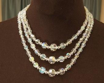 Gorgeous Triple Strand Crystal Choker