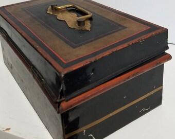 Antique Metal  Paymaster Cash Box Gold Trimmed