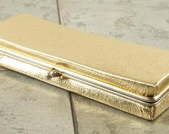 Fabulous Gold Lame Rectangular Clutch with Snap Closure AMN