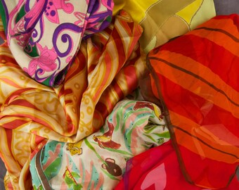 Lot of Vintage Scarves for Upcycle Project