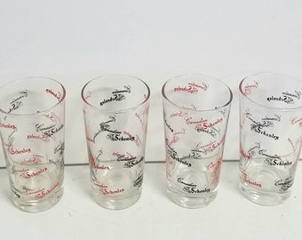 Retro Cool Schenley Bar Glasses - Set of 4