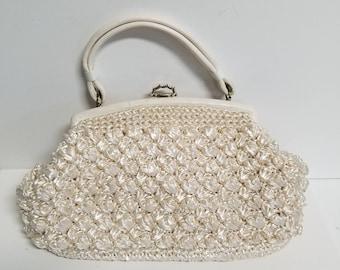 Toile lined raffia crocheted vintage frame bag