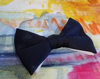 So good black & white satin bow tie