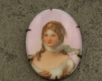 SALE WAS 50 Portrait of a Lady - Antique Porcelain Pin