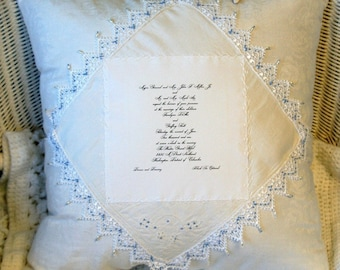 Personalized Wedding Pillow -Custom made by Theresa Wells Stifel