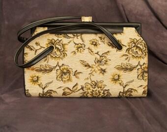 SALE WAS 35 Vintage Tapestry Frame Handbag with Black Handles