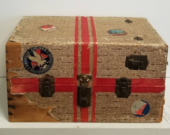 Canvas Look Wooden Wallpaper Lined Steamer Doll Trunk