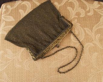 Antique Sterling Silver Mesh Handbag Purse