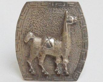 Silver Inca Llama Pin