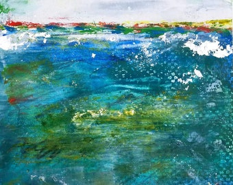 Emerald Surf oil and cold wax by Theresa Wells Stifel