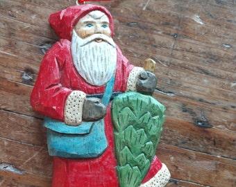 Santa with Tree Ornament, Christmas, Holiday