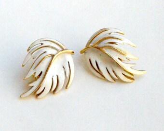 Trifari White Leaf clip on Earrings