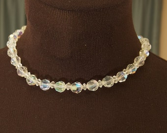 SALE WAS 24 Vintage Crystal Choker with Aurora Borealis Coating