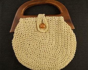 Vintage Crocheted Bermuda Bag with Wooden Handle