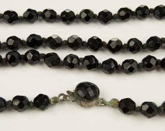 SALE WAS 250 Beautiful Gatsby Style Long Jet Bead Necklace SALE was 300