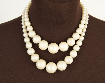Fabulous Faux Pearl Double Strand Necklace