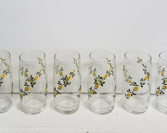 Set of 6 Vintage Yellow Rose Drinking Glasses