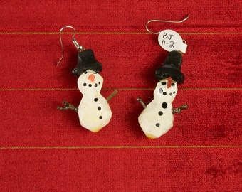 Hand Carved Snow Man Earrings by Bobby Joe Small bjs