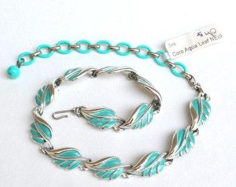 Coro signed Aqua Leaf Enamel necklace