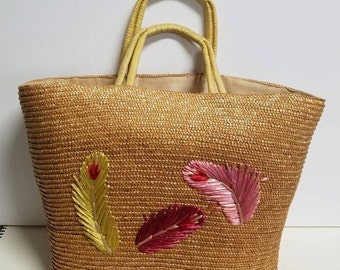 Rafffia embroidered feather detailed lined vintage tote