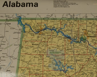 SALE WAS 45 Vintage Rand McNally Alabama Classroom Wall Map