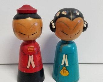 Vintage Japanese Bobble Head Kokeshi Dolls