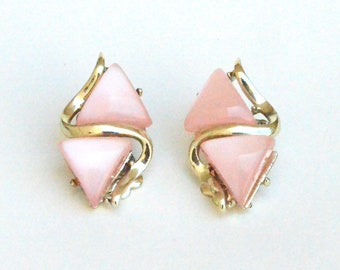 Signed Coro Pink Thermoset Clip on Earrings