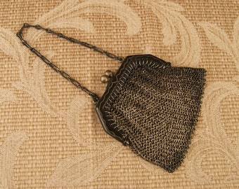 SALE WAS 130 Antique Mesh Mini Purse Chatelaine or Doll Size