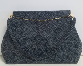 Glamorous frosty gunmental beaded evening bag with beautiful scalloped top