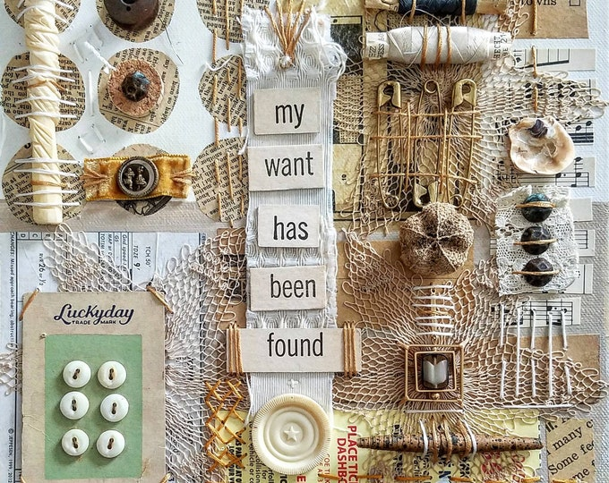 Featured listing image: Lucky Day -  mixed media handstitched assemblage collage by Theresa Wells Stifel