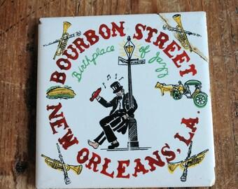 Fun Vintage Bourbon Street New Orleans, LA Ceramic Trivet (19G)