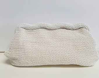Posh white microbead clutch