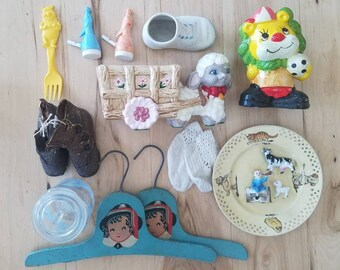 CLEARANCE COLLECTION - Lot of sweet vintage baby decor goods. Enesco, Victorian, whistle, booties and more.