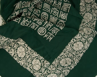 Vintage Hand Rolled Scarf with Asian Symbols
