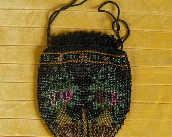 SALE WAS 120 Fabulous Beaded Pouch with Floral Motif