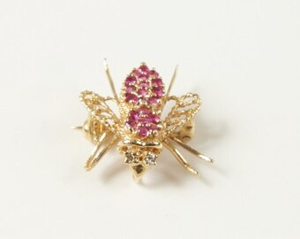 SALE WAS 395 Super Fabulous 14K, Ruby and Diamond Fly Pin Brooch Pendant rsb