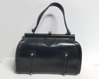Classic black leather frame bag