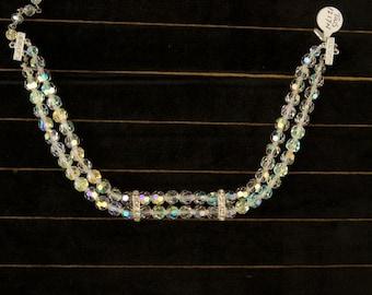SALE WAS 50 Beautiful Vintage Double Strand Crystal Choker