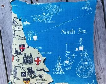 North Sea Vintage Linen Pillow
