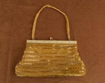 SALE WAS 30 Vintage Gold Beaded Evening Bag with Filagree Frame
