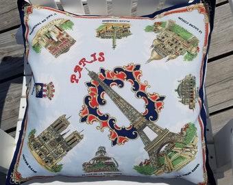 Vintage Souvenir Paris Scarf Upcycled Pillow