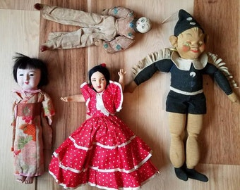CLEARANCE COLLECTION - vintage doll lot. Antique, topsy-turvy, flamenco, geisha and gremlin.