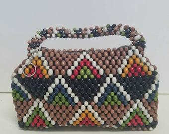 Woven wood beaded handbag