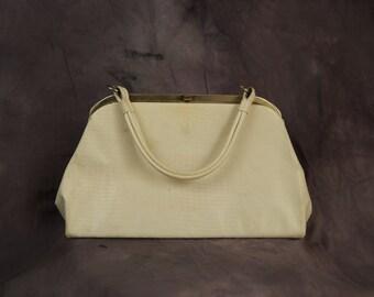 White Faux Reptile 60s Handbag