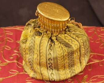 Beautiful Vintage Tapestry Pouch with Expansion Lid
