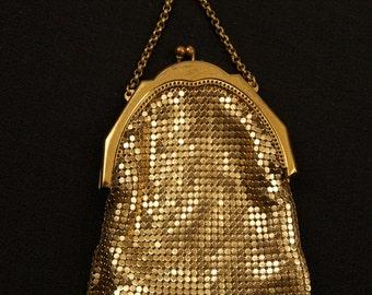 SALE WAS 120 Whiting and Davis Gold Tone Mesh Bag With Chatelaine