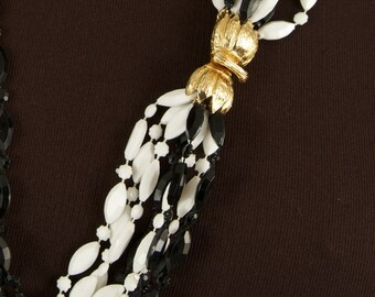 SALE WAS 85 Fabulous VOGUE Multi Strand Necklace in Black and White