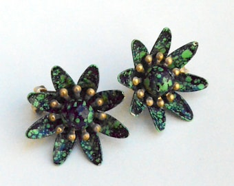 Spotted Green Floral clip on Earrings