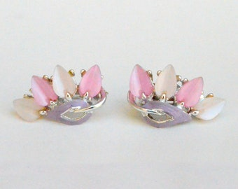 Pink Thermoset clip on Earrings